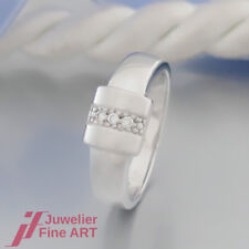 moderner RING - 3 Brillanten (Diamant) ges. ca. 0,03ct H/vsi - 14K/585 Weißgold