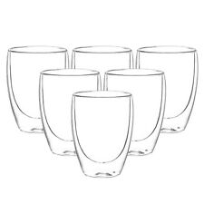 6x 310ml Doppelwandige Thermo Gläser Latte Macchiato Cappuccino Kaffee Tee Glas