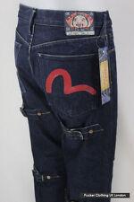 EVISU Hombres Jeans W 32 L 34 Pierna Recta Cierre De Botones Cinch Azul Oscuro Raw de Superdry