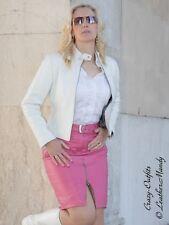 Lederrock Leder Rock Pink Knielang Zipper Größe 32 - 58 XS - XXXL