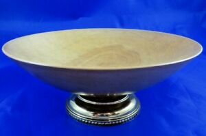 Vintage Shallow Light Wood Bowl On Brass Base Approx 7x4 Candy Dish Trinket Tray