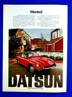 """1972 Datsun 240 Z WANTED Fron Nissan With Pride Original Print Ad 8.5 x 11"""""""