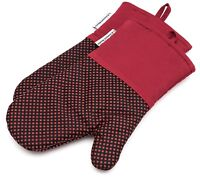 Silicone Oven Mitts Heat Resistant Potholders  BBQ Cooking Gloves 1 Pair Red
