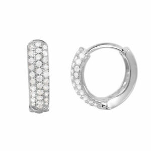 14K WHITE GOLD OVER 925 STERLING SILVER HUGGIE EARRINGS W/ .75 CT LAB DIAMOND