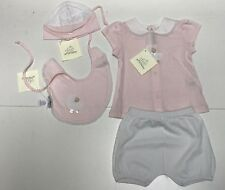 Sottocoperta New Girls Baby 4 Piece Lace Trim Gift Set Outfit Sz 3M Rtl $150 R94