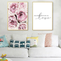 ITS- Floral Love Canvas Painting Wall Living Room Bedroom Picture Poster Decor R