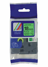 """New Compatible for Brother TZ-741 P-Touch 18mm Black on Green TZ741 TZE741 3/4"""""""