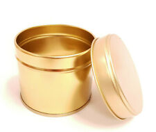 10x Round Candle Tin Gold 250ml Metal Tin For WAX Soy Making Container Jars