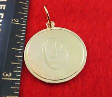 """14 KT GOLD EP LARGE(OVER 1"""") ROUND INITIAL DISC LETTER O PENDANT CHARM"""