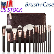 15 PCS Pro Makeup face+Eyes Brushes  Set Cosmetic Complete Eye Kit With  Case