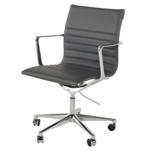 "38"" Tall Adjustable Swivel Office Chair Faux Leather Seat Chrome Aluminium Base"