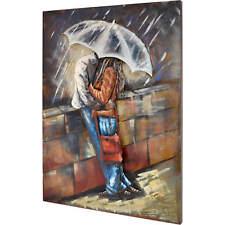 3D Metallbild  Love Rain Wandbild 75 x 100 cm Bild Regen Regenschirm Paar Deko