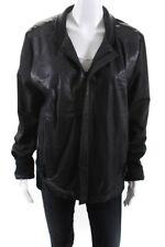 J Brand Mens Long Sleeve Full Zip Crew Neck Bomber Jacket Black Leather Large