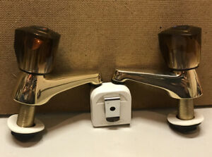 "Gold 1/2"" Basin Pillar Taps Smoked Tinted Acrylic Tops Bathroom 1 Set"