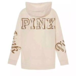 Victoria's Secret PINK creme ~ gold sequin hoodie small