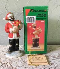 Emmett Kelly Jr. Christmas Ornament Clown W/Box Flambro 9662 Poinsettia Vintage