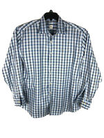 Peter Millar Mens Long Sleeve Button Down Shirt Cotton Plaid White Blue XL