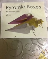 3 PCS PYRAMID BOXES 150 MM GIFT BOX PLACEHOLDER SHAPE PYRAMID COLORFUL NEW