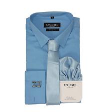 Xposed Men's Classic Cotton Slim Fit Shirt Tie Hanky Cufflinks 3 Piece 5XL Blue