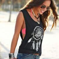 Sexy Women Dreamcatcher Printed Sleeveless Tops Crop Tank Vest Shirt Tee Blouse