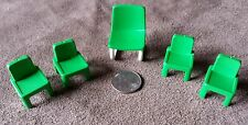 1980's Playmobil School Classroom Green Teacher's Chair + 4 Student Chairs