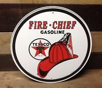 TEXACO FIRE CHIEF GASOLINE Round Sign Tin Vintage Garage Bar Decor Old Rustic