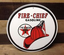TEXACO FIRE CHIEF GASOLINE Round Sign Tin Vintage Garage Bar Decor Old Rustic