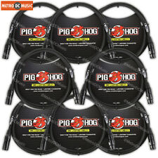 8-Pack Pig Hog 3-Pin 5 ft DMX Cables Shielded Stage Lighting Data Cable