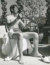 Jean-Paul Belmondo classic original press photo bare chested seated by pool