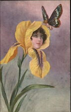 Fantasy Baby/Butterfly & Flower Head Woman c1910 Artist Signed Postcard myn