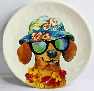"Dolomite Pier 1 Imports 8-1/2"" Summer Dog Sunglasses Dachshund Salad Plate Dish"