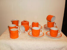 JAPANESE ASAHI ORANGE & WHITE MILK JUG, SUGAR BOWL, 8 CUPS & 8 SAUCERS SET
