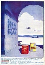 PUBBLICITA'1934 AERO SHELL DYNAMIN LATTA BENZINA AUTO AEREO SCAFO OLIO NICOULINE