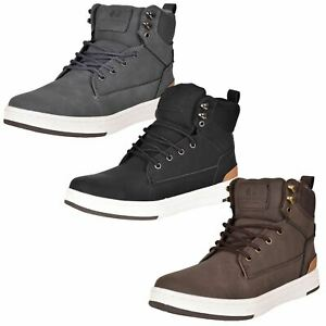 Crosshatch Mens High Top Flat Trainers Lace up Ankle Boots Shoes UK Sizes 7-12