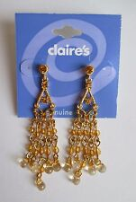 dd Petite Chandelier gold tone bead crystal Earrings CLAIRES FASHION JEWELRY