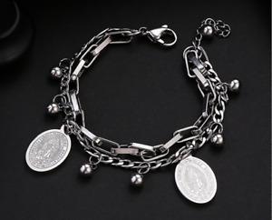 Dark Gothic Virgin Mary/Heart titanium steel chain textured bracelet SILVER/GOLD
