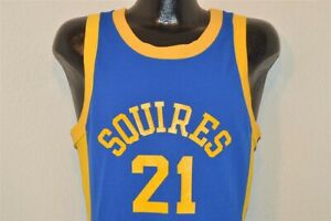 vintage 70S SQUIRES #21 BLUE BAR CHAMPION BASKETBALL JERSEY GOLD BLUE t-shirt S