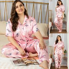 Satin Women Short Sleeve Pajamas Set Tops & Pants Loungewear Nightwear Plus Size