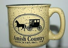 Amish Country Smicksburg, Pa Heavy Thick Ceramic Coffee Mug Speckled Tan Unused