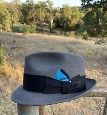 New listing vintage gray stingy brim fedora hat pure 100% beaver 7 1/2
