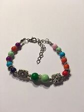 New Tibet silver multicolor jade turquoise bead bracelet-B722