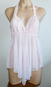 Frederick's of Hollywood Pink Sheer Mesh Lace Babydoll Top Halter Tie S
