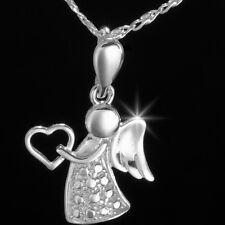 Echt 925er Sterling Silber Schutzengel  Herz Kettenanhänger  2,4 cm  Lang