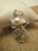 Vintage Silver And Pearl Brooch ~ESTATE FIND~