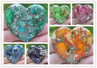 DHSXX Beautiful Sea Sediment Jasper&Pyrite Heart pendant bead
