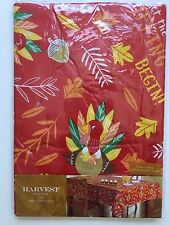 NEW Harvest Season Vinyl Table Cloth Oblong 52 X 70 Inches Thanksgiving Print