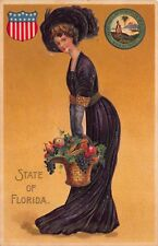 Art Postcard State of Florida Woman, State Seal, Basket of Fruit, Shield~115283