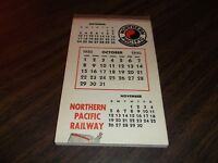 OCTOBER 1950 NORTHERN PACIFIC PASSENGER TRAIN CALENDAR NOTE PAD