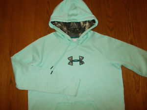 UNDER ARMOUR STORM 1 GREEN W/CAMO LOGO HOODED SWEATSHIRT WOMENS LARGE EXCELLENT
