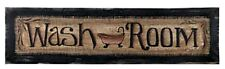 New Primitive Country Rustic Black Bath WASH ROOM Large Picture Plaque Sign 30""
